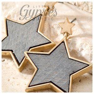 Wooden Stars in Gold Earrings